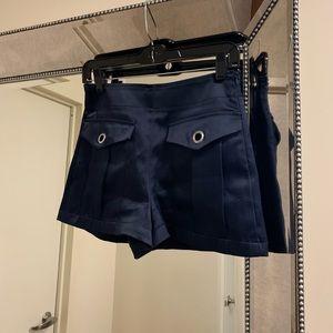 Zara Navy Satin Shorts